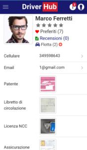 Profilo DiverHub NCC visto da cliente